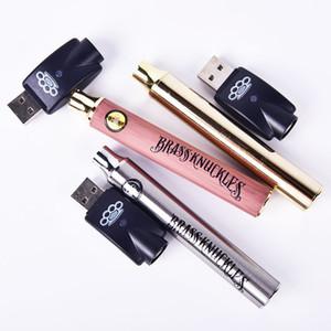 Wholesale Newest Brass Knuckles Battery mAh Gold mAh Wooden Variable Voltage Vape Pen With USB Charger Gift Box For Thread Vape Carts DC067