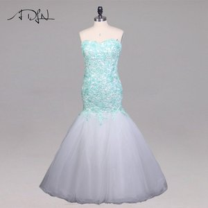 Wholesale wholesale Contrast Color Prom Dress Sweetheart Sleeveless Applique Tulle Mermaid Evening Party Gowns Custom Prom