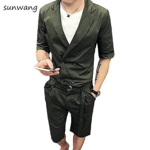Wholesale Summer Casual Dress Unique Designer Slim Fit Mens Double Breasted Suits Short Sets Blazer Pants Green Men Suit With Belt