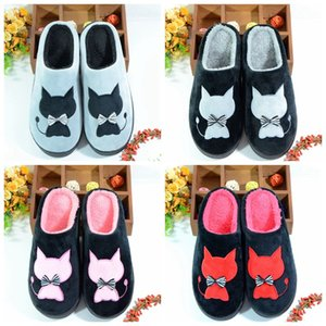 Wholesale SHANGPREE cute cat animal prints Winter Warm Home Slippers lovers Women men slippers shoes Casual Indoor Flats Shoes
