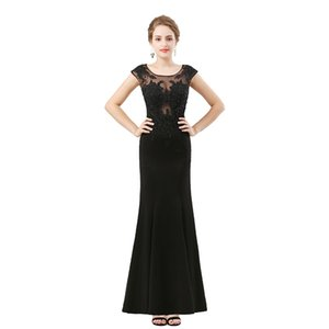 Wholesale 2019 Sheer Neck Jewel Luxurious Evening Dress Mermaid Prom Dress Lace Applique Beaded Fring Dress Party Gown Custom Made Pageant Gowns