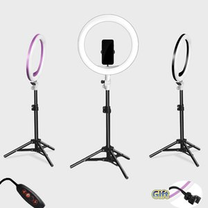 Photography LED Selfie Ring Light three-speed cold and warm stepless Lighting Dimmable with USB Plug Lamp&Tripod Stand