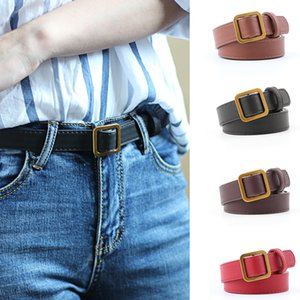Wholesale Female Casual Square Buckle Wide Belts for Women Dress Jeans Belt Woman Ladies Faux PU Leather Straps Ceinture Black Coffee Red
