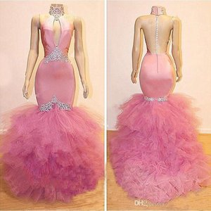 2019 Real Images Tiered Cascading Ruffles Mermaid Prom Dresses Keyhole Neck Sheer Back Beads Pink Long Evening Dresses Formal Party Gowns on Sale