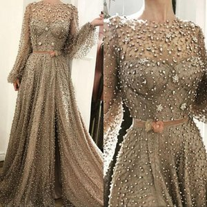 Wholesale Long Sleeves Modest Arabic Dresses Evening Formal Wear Sheer Neck Beaded Pearls Floor Length Split Prom Gowns