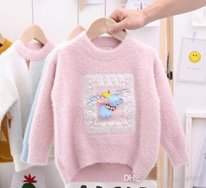 Wholesale Fall and Winter New Kids Elephant Sticker Embroidered Mink like Suede Bead Pullover