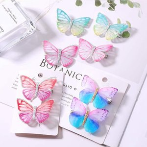 Wholesale 2pcs set Girls Butterfly Hair Clip Colorful Dream D Butterfly Barrettes Kids Bow Headdress Children Cute Designer Hair Clips HHA643