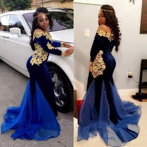 Wholesale Dark Blue Lace Black Girl Mermaid Prom Dresses With Long Sleeves Off The Shoulder Party Dress Appliqued Plus Size Velvet Evening Gowns
