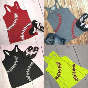 Baseball Softball Sleeveless T Shirts Vest 5 Colors Print Sport Beach Vests Tops Women Summer Home Clothes