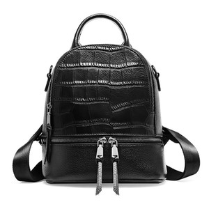 Wholesale Chic Leisure Crocodile Pattern Cowhide Leather Women Daypack Small Double Zipper Female Backpack Simple Knapsack