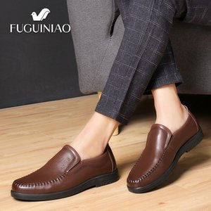 Wholesale 2019 New Men s Casual Cowhide shoes Breathable FUGUINIAO Genuine Leather perforated Men black Shoes