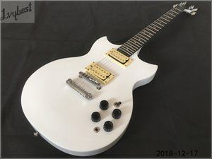 Wholesale inlay parts resale online - customized electric guitar solie white chrome parts cream pickups open pole no pickguard dots inlay ebony fretboard free ship