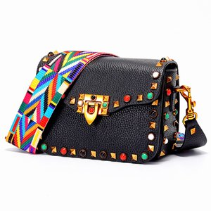 Wholesale Luxury Bag Women Designer Handbags High Quality Genuine Leather Red Mini Handbag with Colorful Diamond Rivet Strap Bolsos Mujer