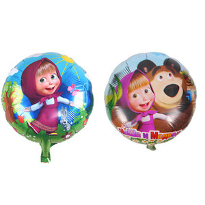 Wholesale Lucky cm Cartoon Masha Bear Foil Helium Balloons Party Supplies Decorations Globos Kids Air Inflatable Toys SH190913