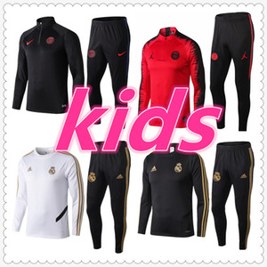 Wholesale algerie real madrid ajax psg kids soccer tracksuit paris mbappe Survêtement de football training suit jogging chandal futbol
