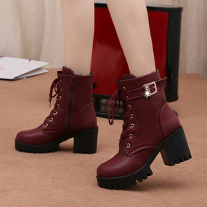 Wholesale high quality sexy winter warm women Boots lace up zip wedding Comfortable Boots High Heels Women Boots pumps dress mujer