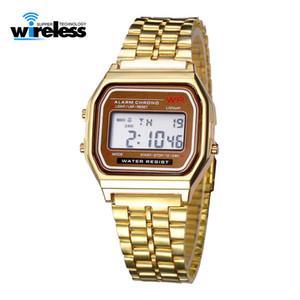 Wholesale electronic military for sale - Group buy Women Men digital Watch Gold Silver Retro Stainless Steel LED Sports Military Wristwatches Electronic Digital Watches Present