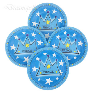 Wholesale 10pcs inch Blue Prince crown Party Supplies Disposable Paper Plates Kids Birthday Party Decorations Baby Shower Supplies