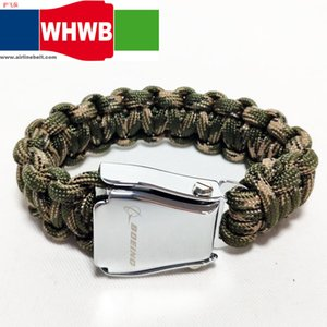 WHWB BEOING fashion jewelry camo green aeroplane airplane safety belt buckle handmade charm paracord bracelet hiking travel kits