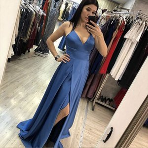robe de soiree Smoke Blue Cheap Evening Dress Spaghetti Straps High Slit Girls Formal Party Dress abendkleider 2020 New on Sale