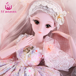 UCanaan 23.6'' BJD SD Doll 19 Ball Joints Dolls with Clothes Outfit Shoes Wig Hair Makeup for Girls Gift and Dolls
