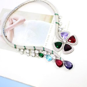 Brand new Big colored Zircon FLower Chokers necklaces copper designer party jewelry for women