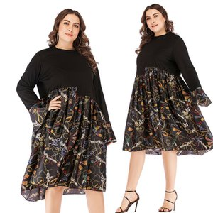 2019 hot sale big size fat MM women's long sleeve loose waist print big dress