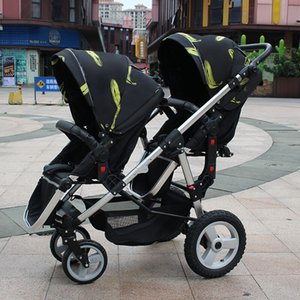 Wholesale twin baby high landscape stroller big and small baby pram two child twin driver trolley can sit and lie Inflatable tires