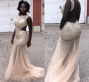 2019 Sparkly Beading Evening Dresses Sheer Jewel Neck Backless Mermaid Tulle Sweep Train Formal Evening Occasion Dresses Hot Sale on Sale