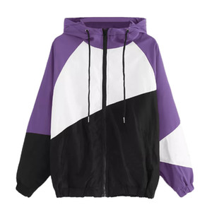 Women Long Sleeve Patchwork Casual Sport Thin Hooded Zipper Coat With Pocket Ladies New Fashion Gym jackets sweatshirts For 2019