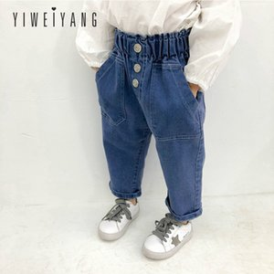 Wholesale Spring New Children s Pants Girls Fashion High waisted Blue Casual Jeans Baby Korean Version Elastic Waist Denim Easy Trousers