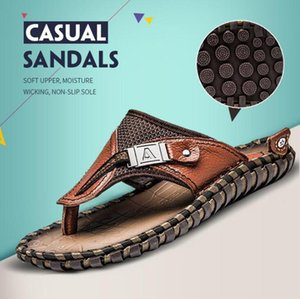 Wholesale Explosion models beach shoes men s sandals new flip flops men s leather large size men s shoes summer sandals and slippers men
