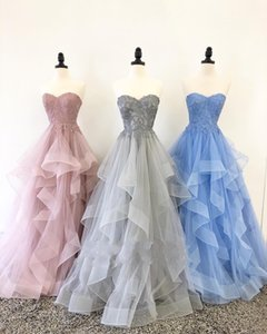 Wholesale Real Photo Sliver Applique Evening Prom Dresses Sweetheart lace Dusty Rose Blue Tulle A line Ruffled Backless Party Pageant Formal Dress