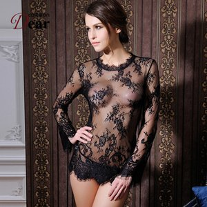 Wholesale RK80215 Comeondear Lenceria Womens Sexy Dresses Erotic Black Transparent Sexy Underwear Women Long Sleeve With G string Lingerie D18120802