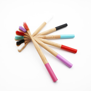 Wholesale Rainbow Bamboo Toothbrush Colors Round Bamboo Handle Black Bristle Adult Tandenborstel Wooden Handle Low carbon Toothbrush C18112601