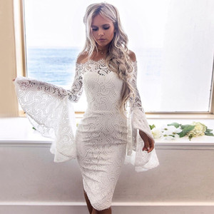 Wholesale white knee length lace homecoming resale online - Sheath Off the Shoulder Homecoming Dresses Bell Sleeves Knee Length White Lace Hoco Prom Cocktail Formal Party Dress