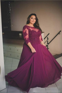 Wholesale Plus Size Evening Gowns Purple Chiffon Backless Prom Dresses Sheer Neck Lace Appliques Top Formal Dress with Illusion Sleeves Custom Made