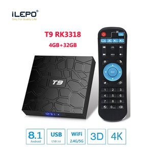 New T9 Android Tv Box 8.1 4GB 32GB smart android tv box streaming boxes Bluetooth WiFi 1000M Lan Rockchip RK3318 quad core