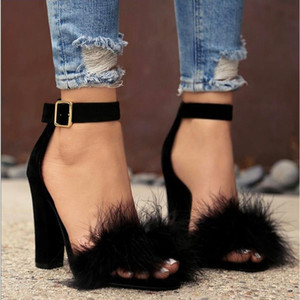 Wholesale Women s Fashion Feathers High heeled Sandals Plush Hollow Sexy Shoes sword buckle high Heels