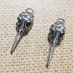 Wholesale DIY Earring Charm Accessories Antique Bronze Antique Silver Skull Bird Head Charm Findings x41MM