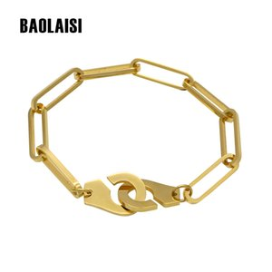 BAOLAISI 18-21cm Men Handcuff Bracelet Stainless Steel Cuff Bracelets Bangle Femme Chain Gold Color Bracelet For Women Jewelry