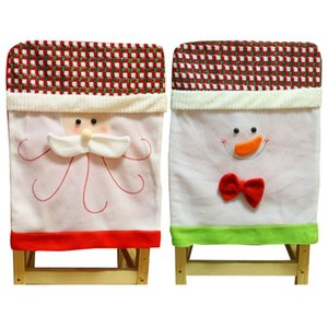 Wholesale 1PC Chair Cover Durable Lovely Soft Decoration Christmas Santa Claus Chair Back Cover Snowman Print Dinner Table Party Decor