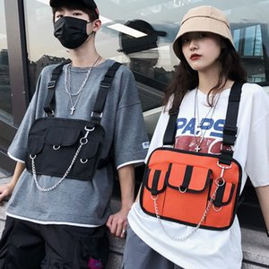 Wholesale 2019 Women Men Hip Hop Tactical Waterproof Black Tool Streetwear Bags With Chain Chest Bag Rig Street Vest Waist Pack