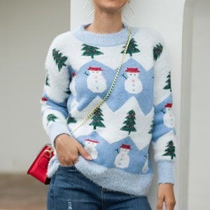 Wholesale new Christmas sweater autumn winter Christmas tree snowman knitted pullover for women maglia donna inverno