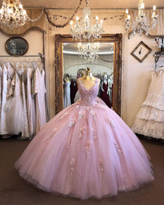 Wholesale tulle rose petals for sale - Group buy Real Photo Fashion Dusty Rose Pink Ball Gown Prom Quinceanera Dresses V neck D Floral Flowers Applique Tulle Party Evening Dress