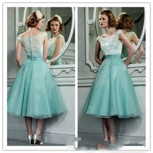 Wholesale Mint Green Organza Lace Retro Short Prom Dress s Vintage Hepburn Style Tea Length Party Dresses With Bateau Neck Cap Sleeves Cocktail