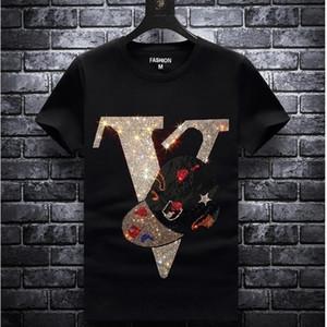 England Style Fancy Tshirt Man Diamond Print Short Sleeve T-shirt Men's fashion Summer Rhinestone eagle Design Bottom T Shirts
