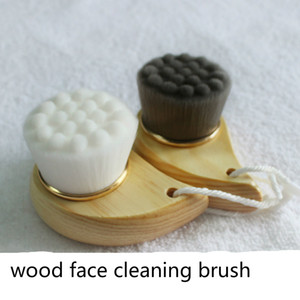 Wholesale Soft Fiber Wooden Handle Facial Cleansing Brush Face Pore Blackhead Deep Cleansing Face Washing Brush Skin Care Cleaning Tools