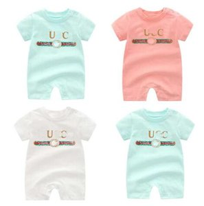 Wholesale brand designer baby boys girls short sleeved jumpsuit baby rompers summer printing newborn romper clothing designer label clothes