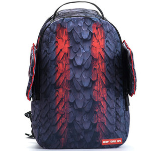Bloodstain backpack Sprayground wing packsack Blood stain feather daypack SPG pack bag New York rucksack Spray ground day pack
